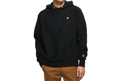 Champion Black Reverse Weave Pullover Hoodie Small C Logo - GF58