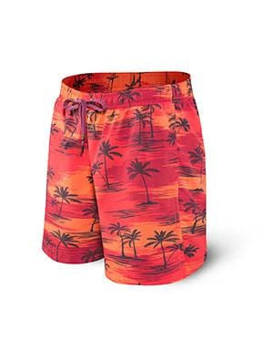 SAXX Cannonball Swim Short 2N1 Red Palm Sunset RPS