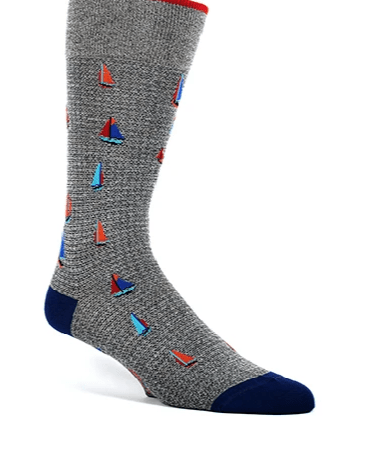 Dion Dress Socks Sail Boat Design DS1319_03