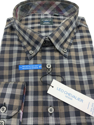 Brown Plaid Non-Iron Dress Shirt-Leo Chevalier-523495 2898