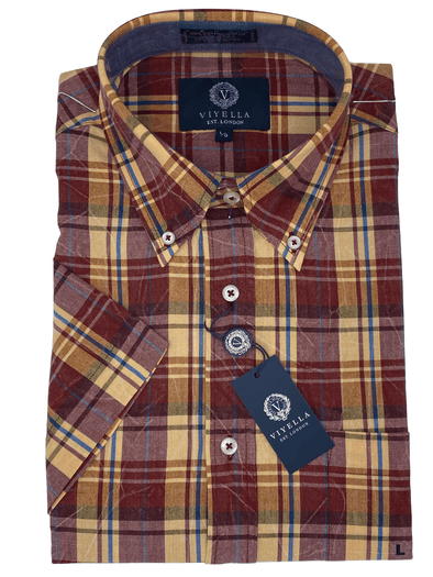 Viyella Short Sleeve Sport Shirt - 554310 4400 Orange Red Plaid