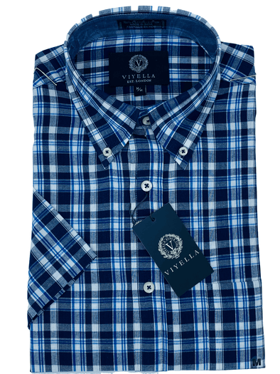 Viyella Short Sleeve Sport Shirt - 554310 1800 Blue Plaid