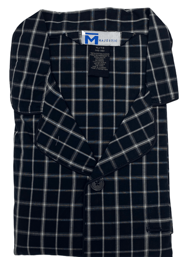 Black White Plaid Cotton Pyjama Set