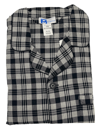 Black Grey Plaid Cotton Pyjamas 99981-099 Black Grey