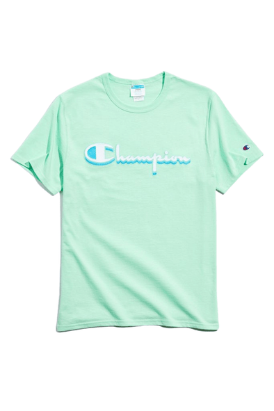 Chain stitch Short Sleeve Tee with Graphics Mint Green