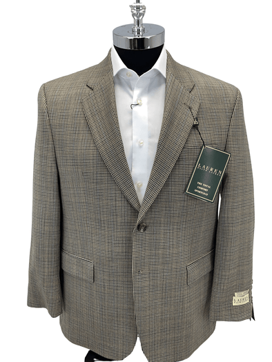 Tan Houndstooth Sport Jacket - LEWI12R30112 42S Only