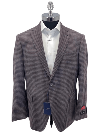 Gingham Tollengo 1900 Sports Coat Sarno 981486 Size 44S Only