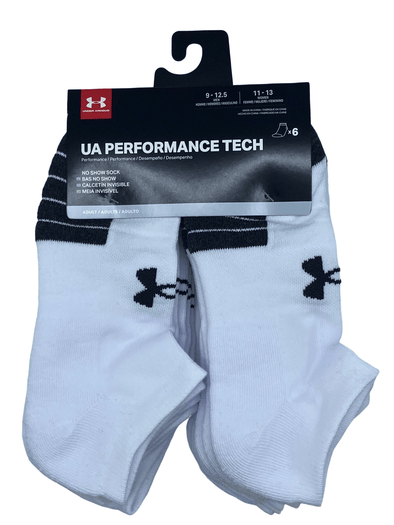 Under Armour Performance Tech No Show Sock White 6 Pack U6764C6