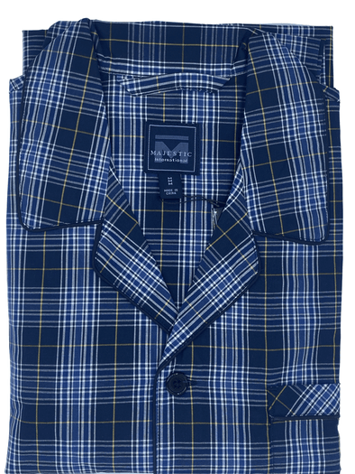 Navy Plaid Cotton Pyjamas 12135190 422 Navy