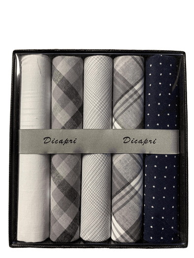 Multi Package of 5 Grey and Black Assorted Handkerchiefs