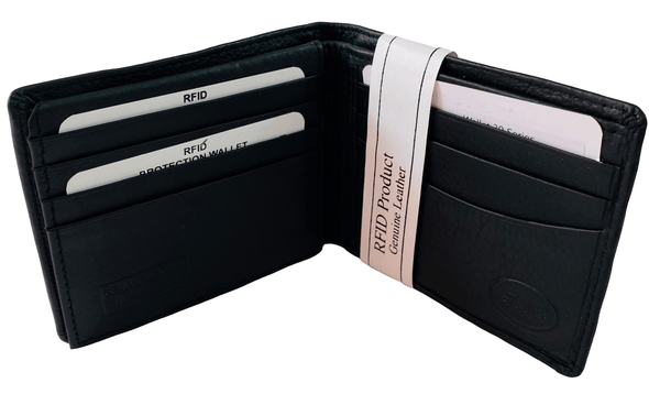 Black Bifold Wallet Featuring Dual Hidden ID Windows Made with Genuine Leather