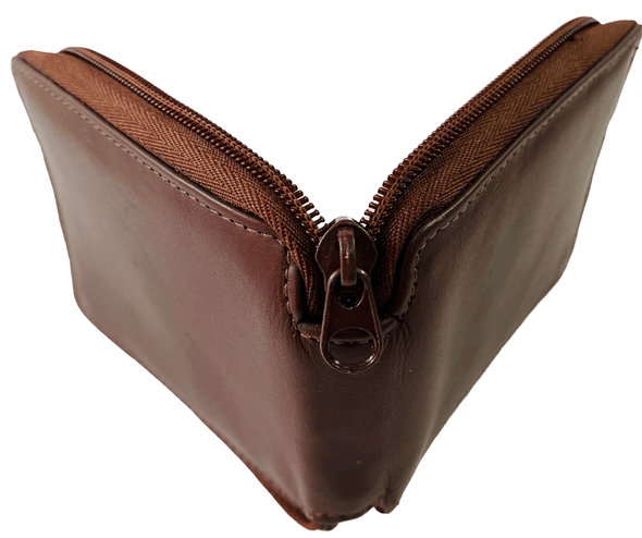 Brown Zipper Wallet  Featuring Coin Pouch Made with Genuine Leather