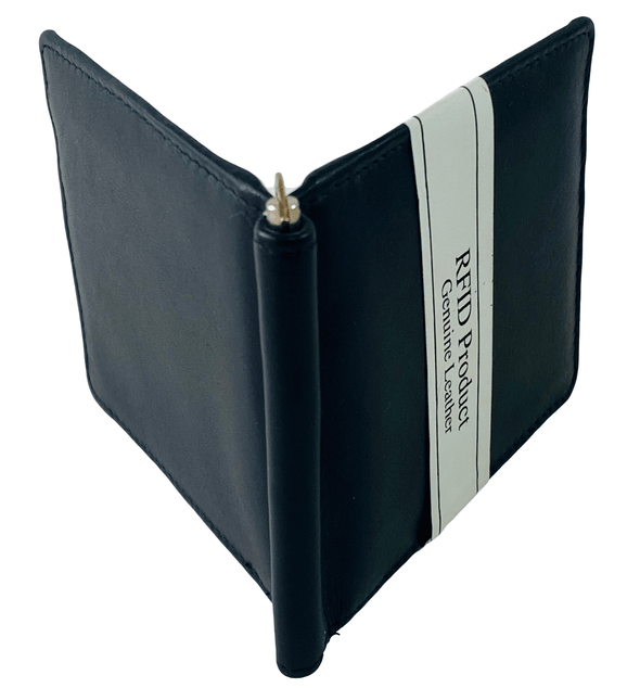 Black Bifold Wallet Featuring Money Clip Made with Genuine Leather