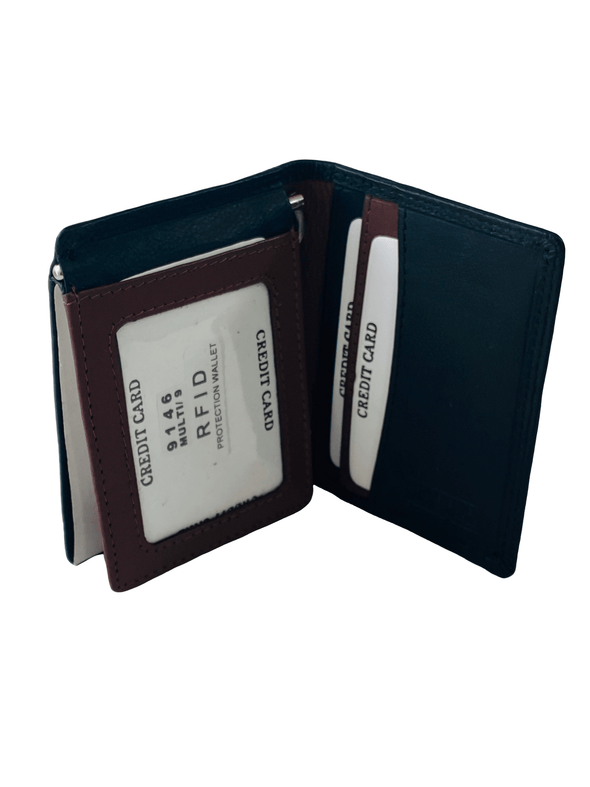 Multi Color Bifold Wallet Featuring ID Window and Money Clip Made with Genuine Leather