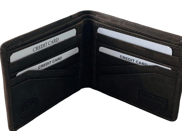 Suede Brown Bifold Wallet  Featuring Extra Card Slots Made with Genuine Leather
