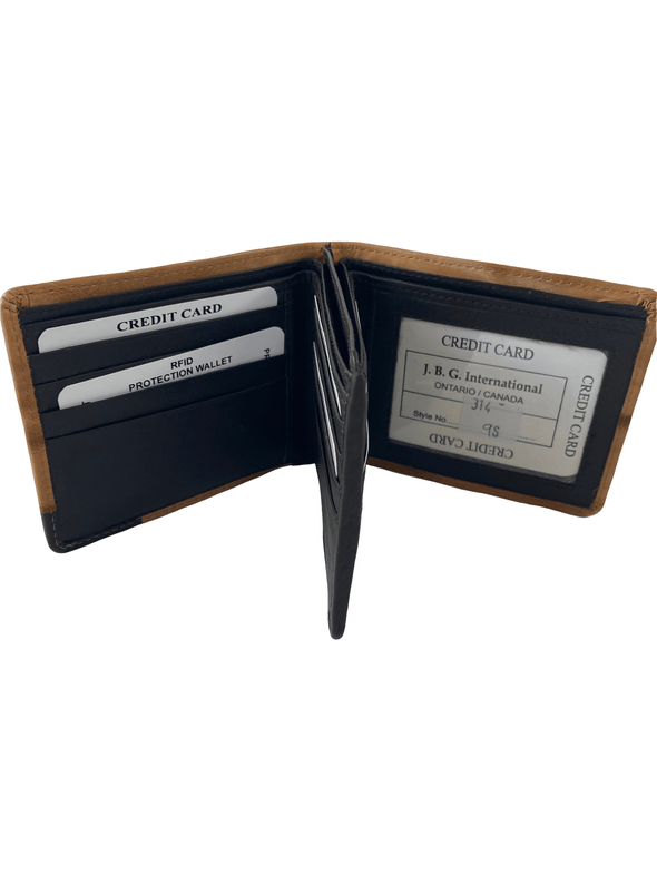 Wood Grain Bifold Wallet  Featuring ID Window Dual Bill Pouch with Genuine Leather