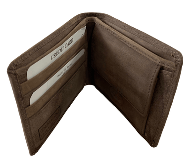 Suede Brown Bifold Wallet  Featuring Snap Coin Pouch Made with Genuine Leather