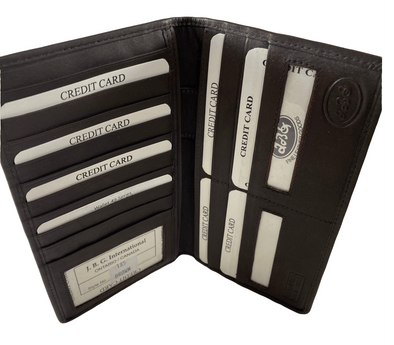 Brown 13 Business Card Holder Featuring 3 ID Windows Made with Genuine Leather