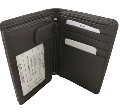 Brown Bifold Wallet Featuring ID Window and Zipper Pouch Made with Genuine Leather