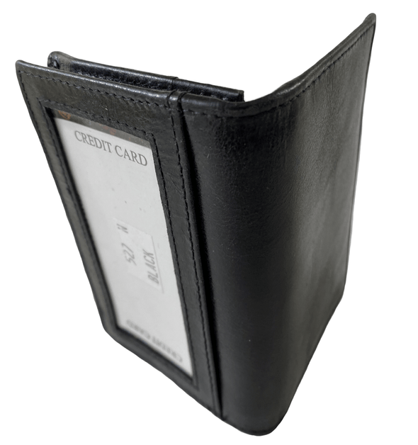 Black Bifold Slim Card Holder with ID Window Made with Genuine Leather