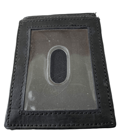 Black Card Holder with Pouch and ID Window Made with Genuine Leather
