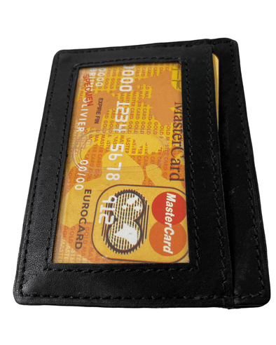 Black Slim Card Holder with ID Window Made with Genuine Leather