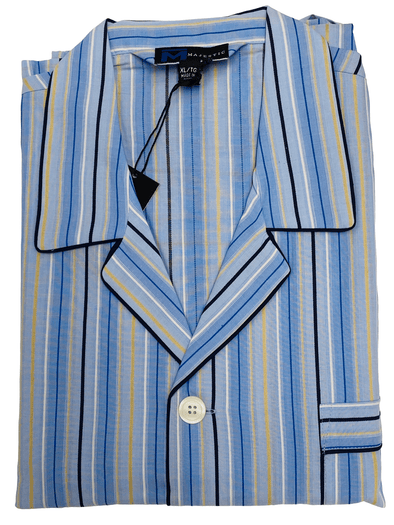 Blue Gold Striped Cotton Pyjamas 1228190 415 LT Blue