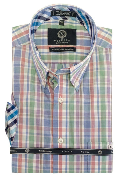 Viyella Short Sleeve Blue Multi Paid Sport Shirt 552344 1700