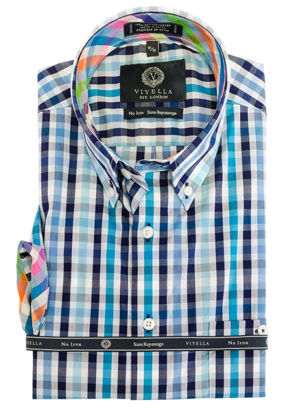 Viyella Short Sleeve Blue Plaid Sport Shirt 552343 1700