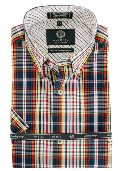 Viyella Short Sleeve Red Blue Yellow Multi Paid Sport Shirt 550321 9000