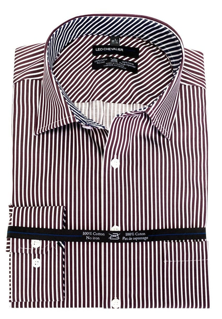 Burgundy Stripe Dress Shirt - Leo Chevalier