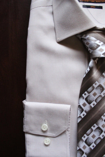 Serica Classics Non-Iron Dress Shirt - Beige Houndstooth