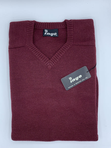 Ingo V-Neck Alpaca Sweater Wine - Cuno