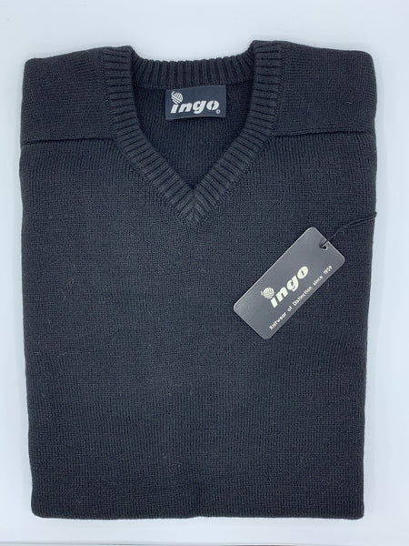 Ingo V-Neck Alpaca Sweater Black - Cuno