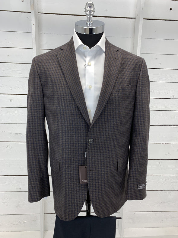 Chocolate Brown and Navy Check Sport Jacket - Gibson - 142003