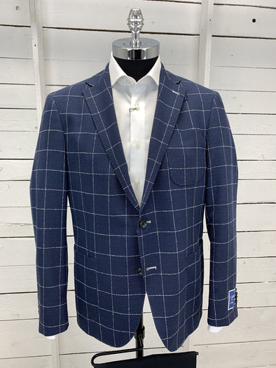 Navy Checkered Plaid Prestige Sports Coat Massa Cut Size 44S Only