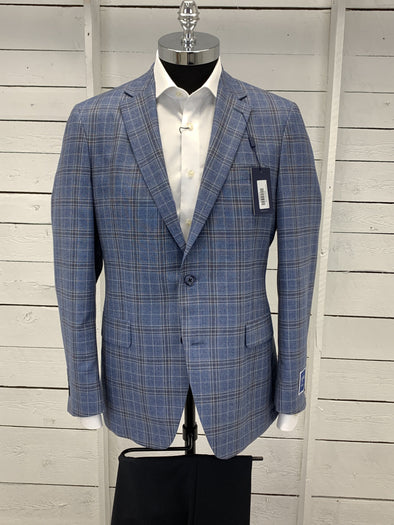 Light Blue Grey Plaid Prestige Sports Coat Sonny 690673 42R Only