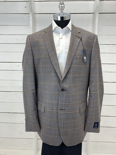 Grey Blue Checkered Plaid Prestige Sports Coat Atlanta Tall 662255 Size 46 T 48T Only
