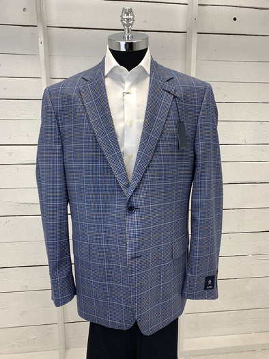 Navy Checkered Plaid Prestige Sports Coat Atlanta 662253 Size 48R 54R Only