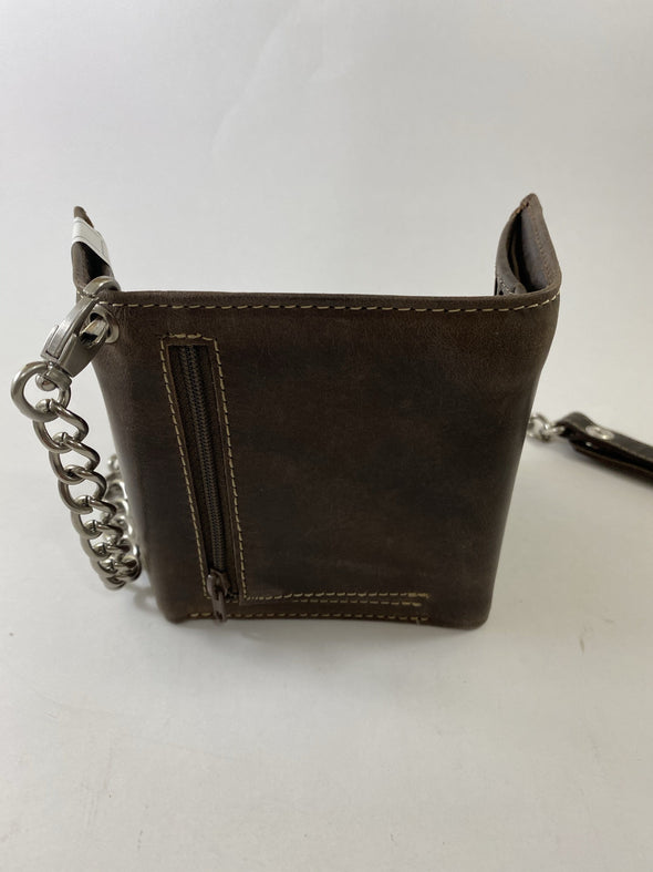 Brown Chain Trifold Wallet 12 Credit Card Slots Zipper Pouch with Genuine Leather