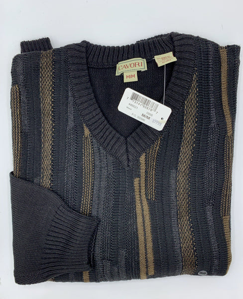 Cavori Jacquard Sweater, V-Neck 448621 0998