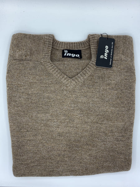 Ingo V-Neck Alpaca Sweater New Beige - Cuno
