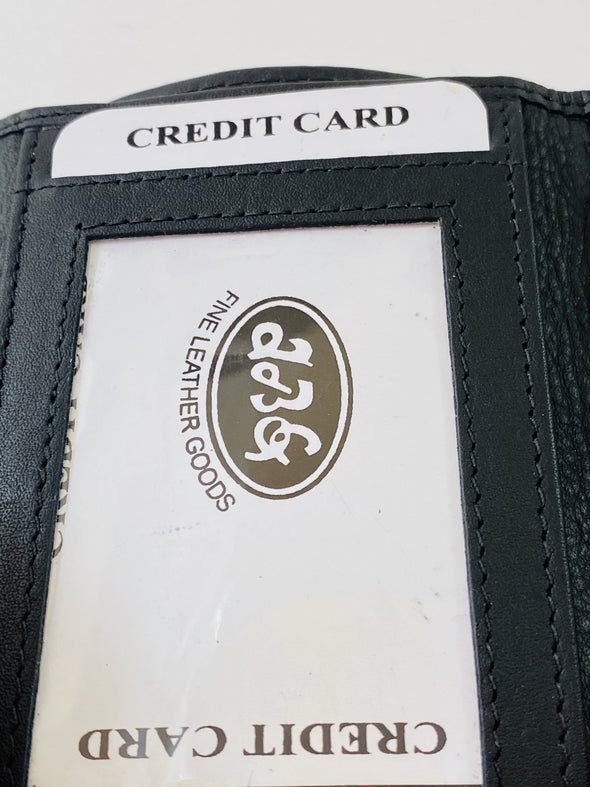 Black Trifold Wallet Featuring ID Window and 9 Credit Card Slots Made with Genuine Leather