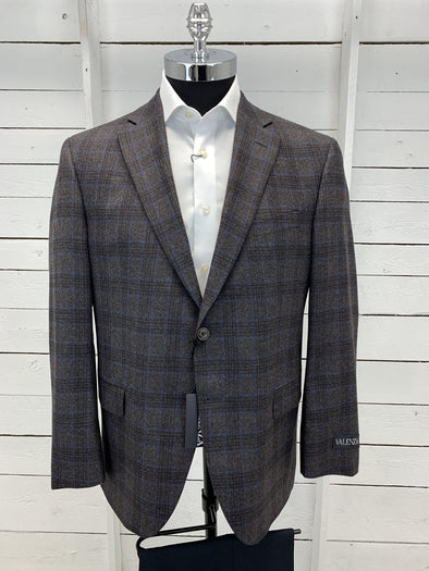 Grey Blue Block Plaid Valenza Sport Jacket - Gibson 1172105 612 42S Only