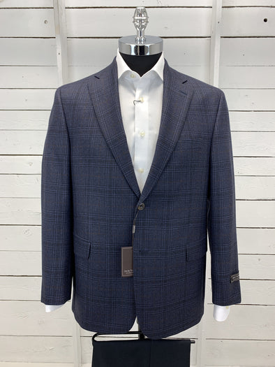 Dark Navy Plaid Portly Sport Jacket - Powell Cut RN91013 40S 42S Only