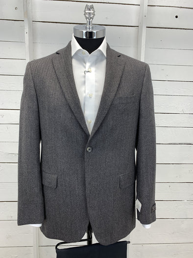 Grey Herringbone Sport Jacket - Vince Cut 132012  40R Only