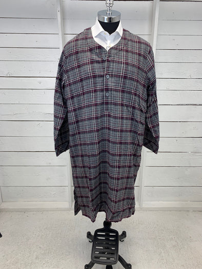 Majestic Cotton Flannel Night Shirt Grey and Purple Plaid L 98880