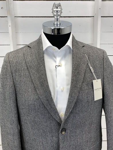 Grey Herringbone Sport Jacket - Loretowood RN91013 40S Only
