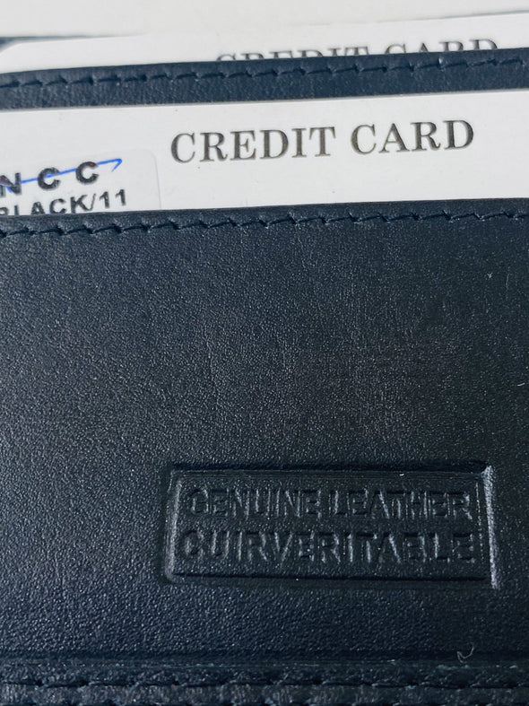 Black Bifold Wallet Featuring Front Credit Card Slots and Money Clip Made with Genuine Leather