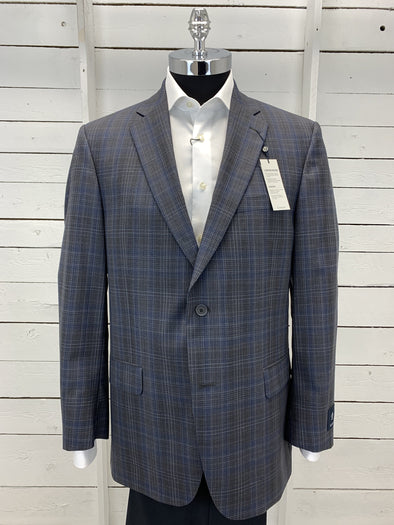 Grey Navy Plaid Prestige Sports Coat Atlanta Cut 66306 100 Size 44 R Only
